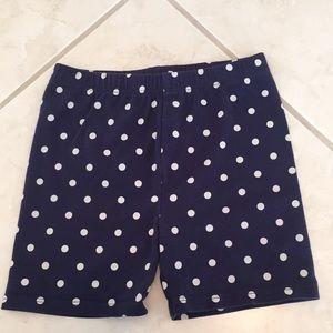 High waisted dark blue polka-dotted shorts